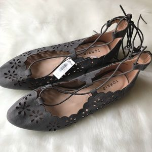 Torrid Gray Flats Ankle Lace Eyelet Cutout NEW